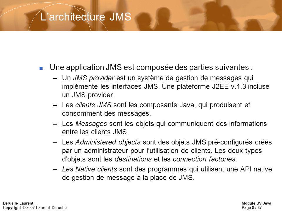 Module UV Java Page 8 / 67 Deruelle Laurent Copyright © 2002 Laurent Deruelle Larchitecture JMS n Une application JMS est composée des parties suivantes : –Un JMS provider est un système de gestion de messages qui implémente les interfaces JMS.