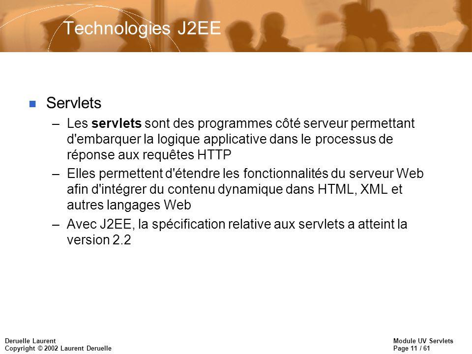 Module UV Servlets Page 11 / 61 Deruelle Laurent Copyright © 2002 Laurent Deruelle Technologies J2EE n Servlets –Les servlets sont des programmes côté