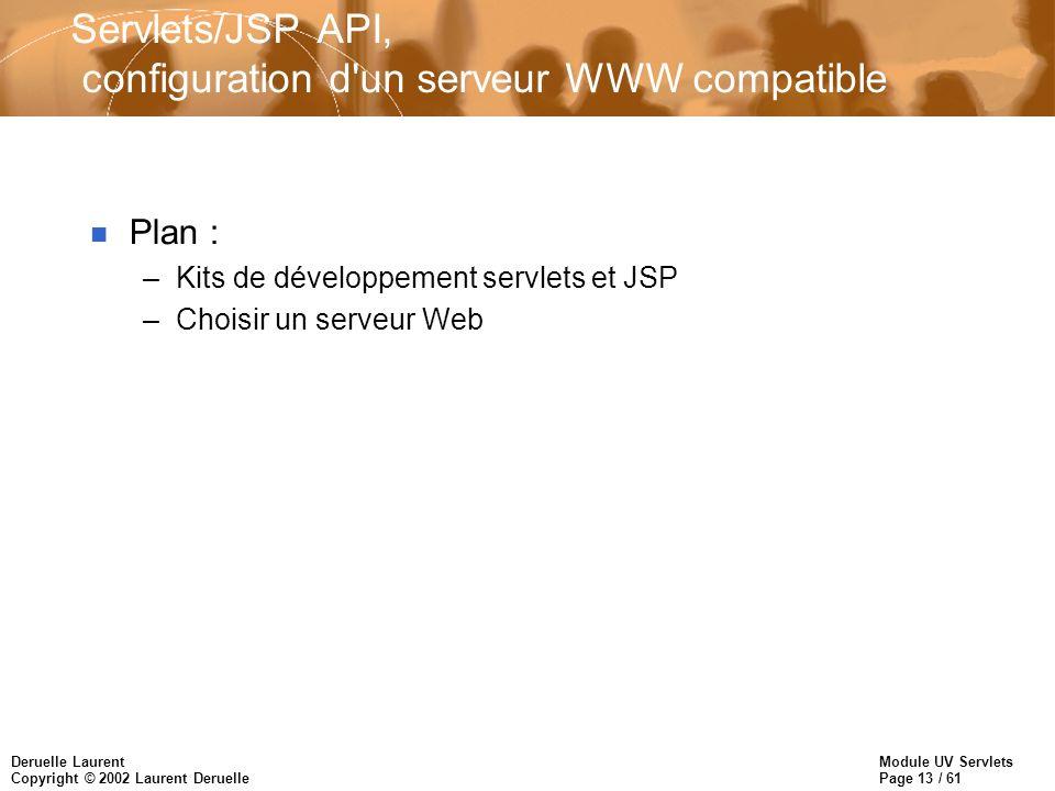 Module UV Servlets Page 13 / 61 Deruelle Laurent Copyright © 2002 Laurent Deruelle Servlets/JSP API, configuration d'un serveur WWW compatible n Plan