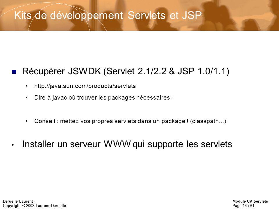 Module UV Servlets Page 14 / 61 Deruelle Laurent Copyright © 2002 Laurent Deruelle Kits de développement Servlets et JSP n Récupèrer JSWDK (Servlet 2.