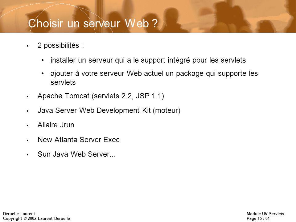 Module UV Servlets Page 15 / 61 Deruelle Laurent Copyright © 2002 Laurent Deruelle Choisir un serveur Web ? 2 possibilités : installer un serveur qui