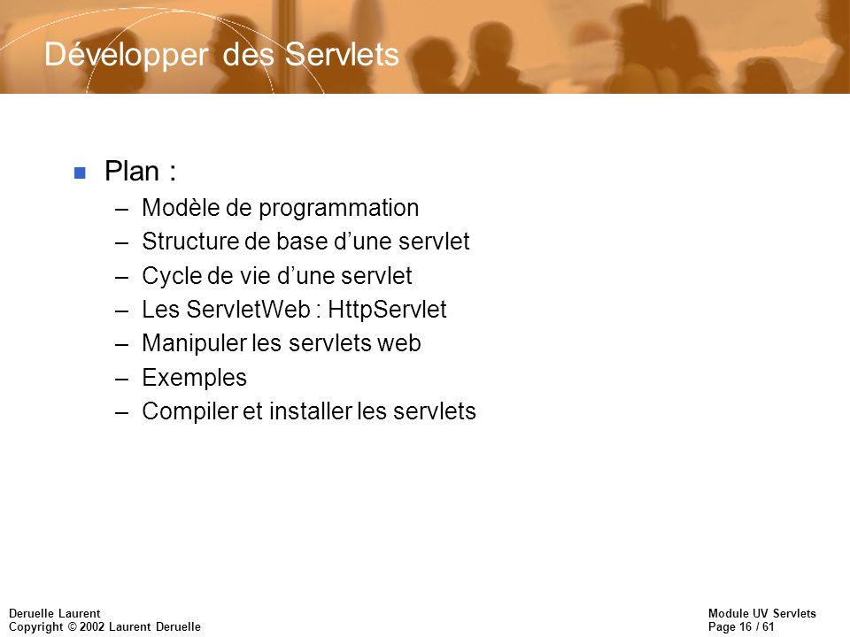 Module UV Servlets Page 16 / 61 Deruelle Laurent Copyright © 2002 Laurent Deruelle Développer des Servlets n Plan : –Modèle de programmation –Structur