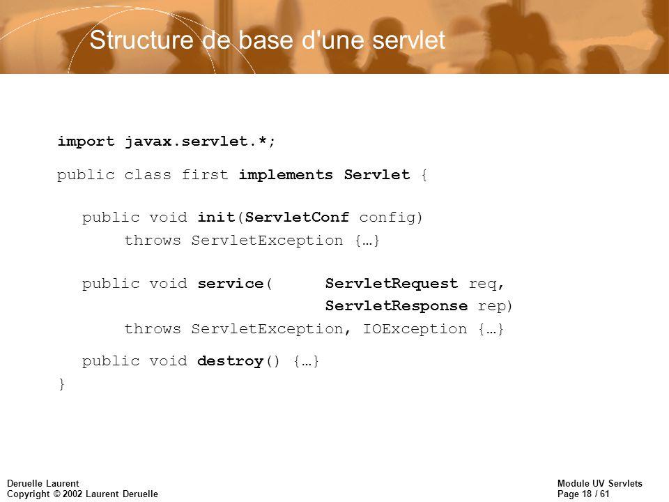Module UV Servlets Page 18 / 61 Deruelle Laurent Copyright © 2002 Laurent Deruelle Structure de base d'une servlet import javax.servlet.*; public clas