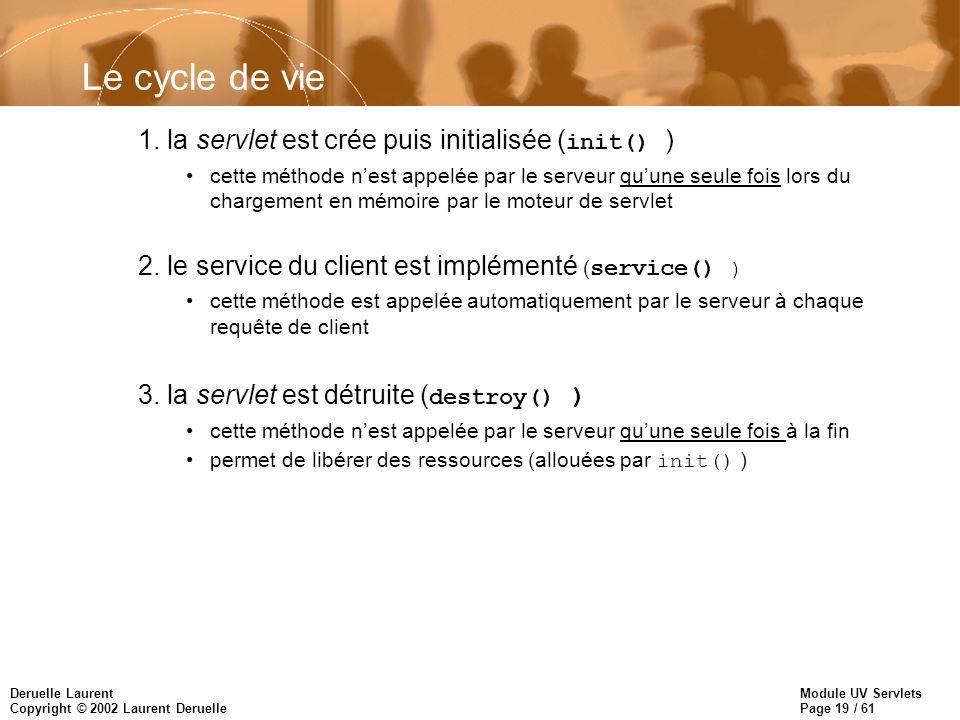 Module UV Servlets Page 19 / 61 Deruelle Laurent Copyright © 2002 Laurent Deruelle Le cycle de vie 1. la servlet est crée puis initialisée ( init() )