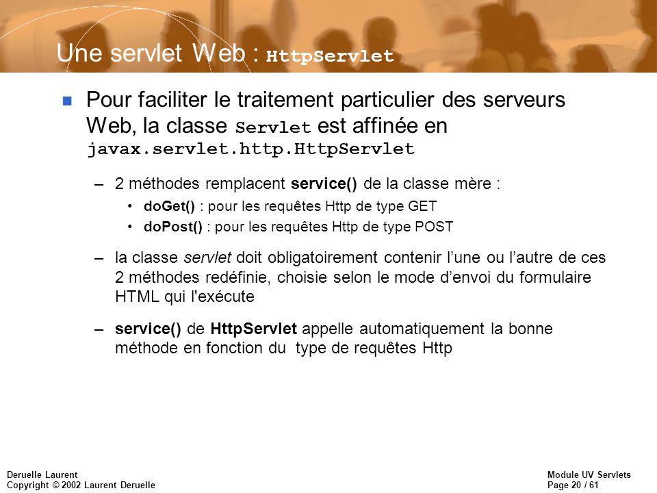 Module UV Servlets Page 20 / 61 Deruelle Laurent Copyright © 2002 Laurent Deruelle Une servlet Web : HttpServlet Pour faciliter le traitement particul