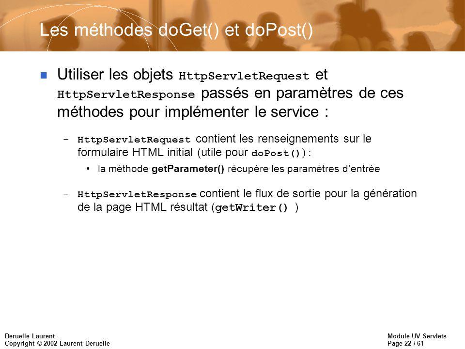 Module UV Servlets Page 22 / 61 Deruelle Laurent Copyright © 2002 Laurent Deruelle Les méthodes doGet() et doPost() Utiliser les objets HttpServletReq