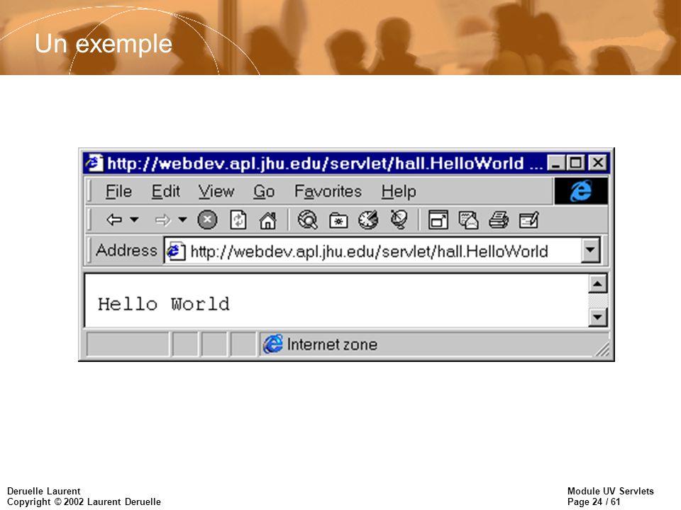 Module UV Servlets Page 24 / 61 Deruelle Laurent Copyright © 2002 Laurent Deruelle Un exemple