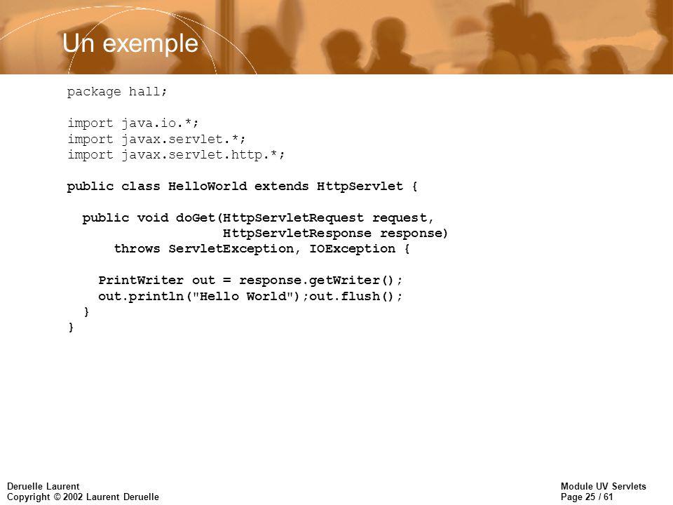 Module UV Servlets Page 25 / 61 Deruelle Laurent Copyright © 2002 Laurent Deruelle Un exemple package hall; import java.io.*; import javax.servlet.*;