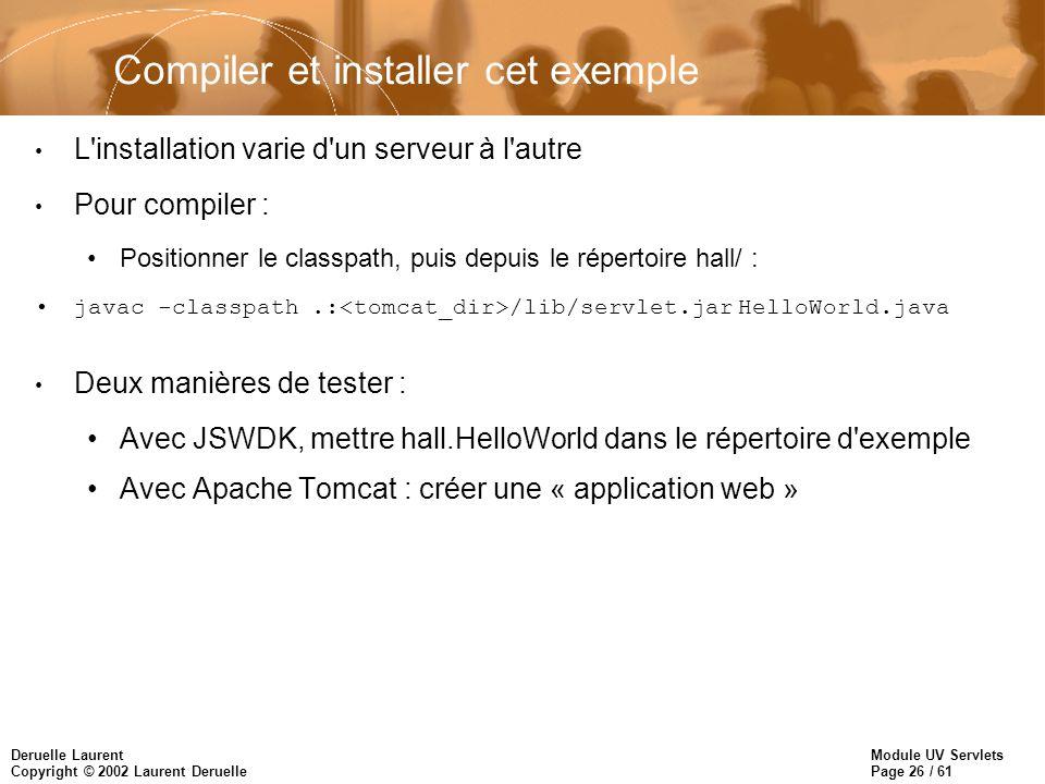 Module UV Servlets Page 26 / 61 Deruelle Laurent Copyright © 2002 Laurent Deruelle Compiler et installer cet exemple L'installation varie d'un serveur