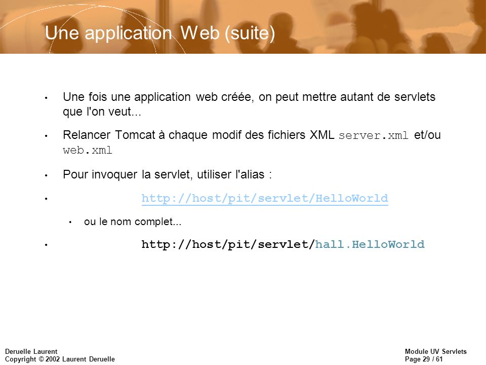 Module UV Servlets Page 29 / 61 Deruelle Laurent Copyright © 2002 Laurent Deruelle Une application Web (suite) Une fois une application web créée, on