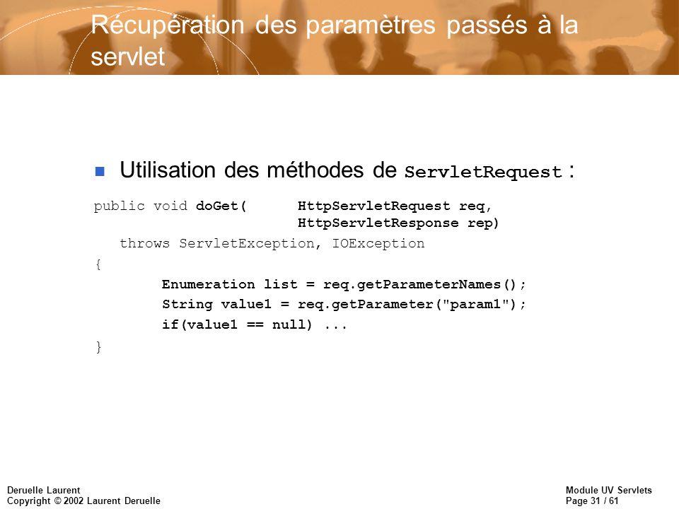 Module UV Servlets Page 31 / 61 Deruelle Laurent Copyright © 2002 Laurent Deruelle Récupération des paramètres passés à la servlet Utilisation des mét