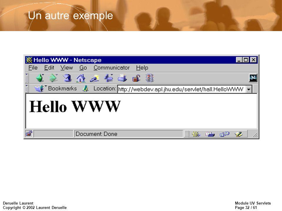 Module UV Servlets Page 32 / 61 Deruelle Laurent Copyright © 2002 Laurent Deruelle Un autre exemple