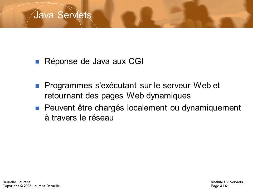Module UV Servlets Page 4 / 61 Deruelle Laurent Copyright © 2002 Laurent Deruelle Java Servlets n Réponse de Java aux CGI n Programmes s'exécutant sur