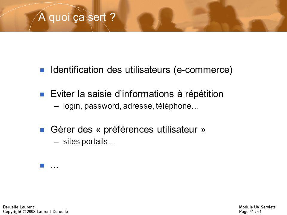 Module UV Servlets Page 41 / 61 Deruelle Laurent Copyright © 2002 Laurent Deruelle A quoi ça sert ? n Identification des utilisateurs (e-commerce) n E