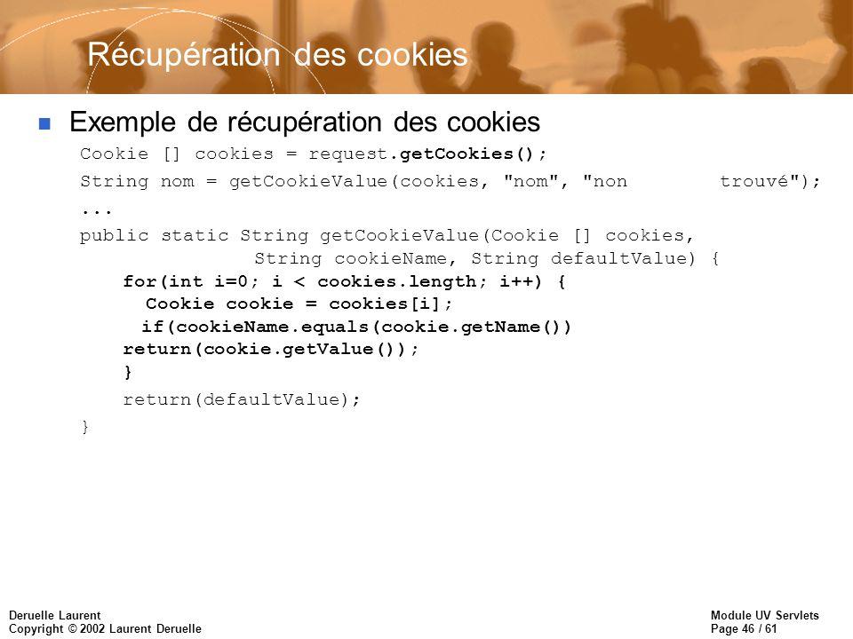 Module UV Servlets Page 46 / 61 Deruelle Laurent Copyright © 2002 Laurent Deruelle Récupération des cookies n Exemple de récupération des cookies Cook