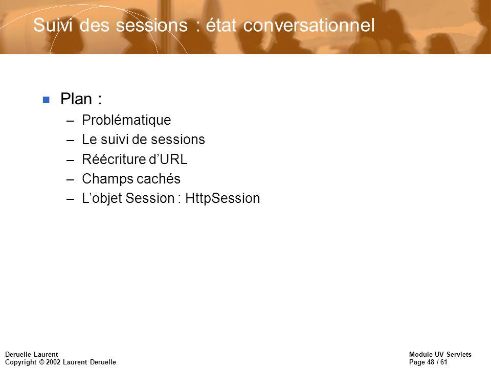 Module UV Servlets Page 48 / 61 Deruelle Laurent Copyright © 2002 Laurent Deruelle Suivi des sessions : état conversationnel n Plan : –Problématique –