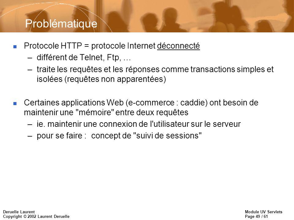 Module UV Servlets Page 49 / 61 Deruelle Laurent Copyright © 2002 Laurent Deruelle Problématique n Protocole HTTP = protocole Internet déconnecté –dif