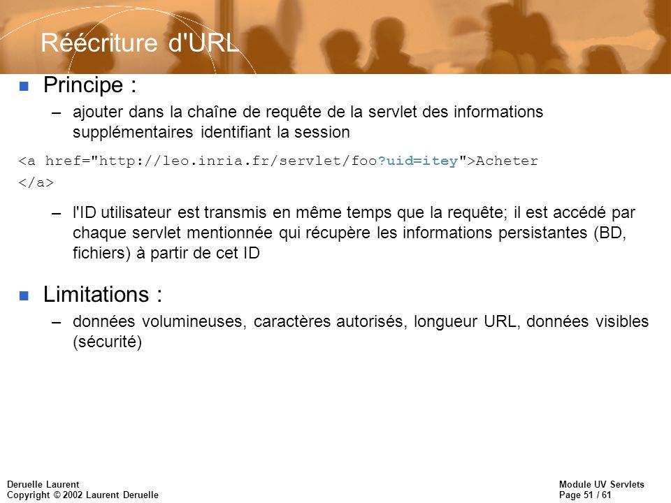 Module UV Servlets Page 51 / 61 Deruelle Laurent Copyright © 2002 Laurent Deruelle Réécriture d'URL n Principe : –ajouter dans la chaîne de requête de