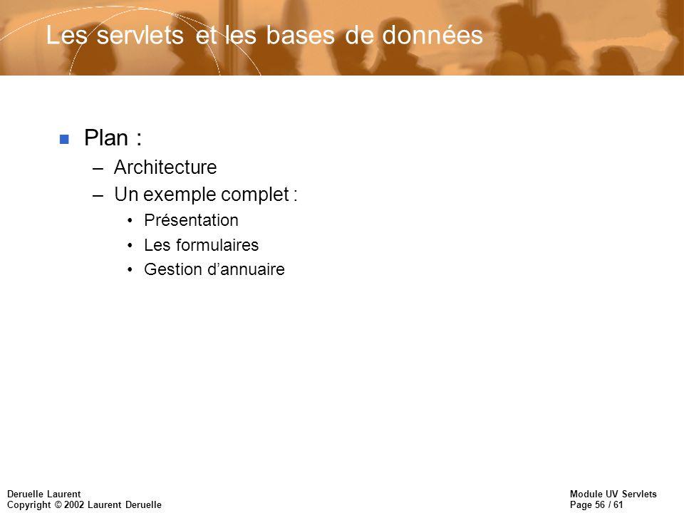 Module UV Servlets Page 56 / 61 Deruelle Laurent Copyright © 2002 Laurent Deruelle Les servlets et les bases de données n Plan : –Architecture –Un exe