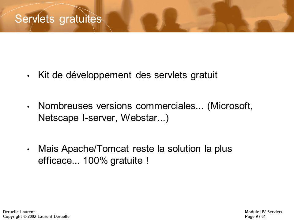 Module UV Servlets Page 9 / 61 Deruelle Laurent Copyright © 2002 Laurent Deruelle Servlets gratuites Kit de développement des servlets gratuit Nombreu
