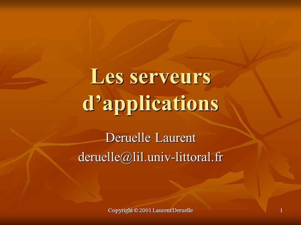 Copyright © 2001 Laurent Deruelle2 Plan (1/2) Etat de lart Etat de lart Les architectures logicielles Les architectures logicielles Quattend-on des serveurs dapplications .