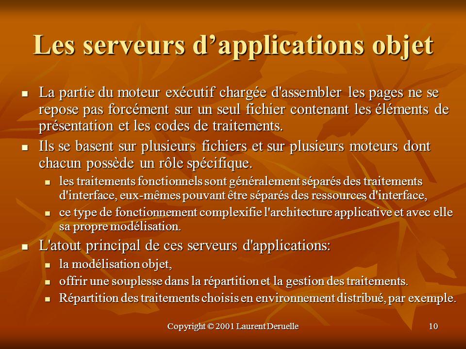 Copyright © 2001 Laurent Deruelle10 Les serveurs dapplications objet La partie du moteur exécutif chargée d'assembler les pages ne se repose pas forcé