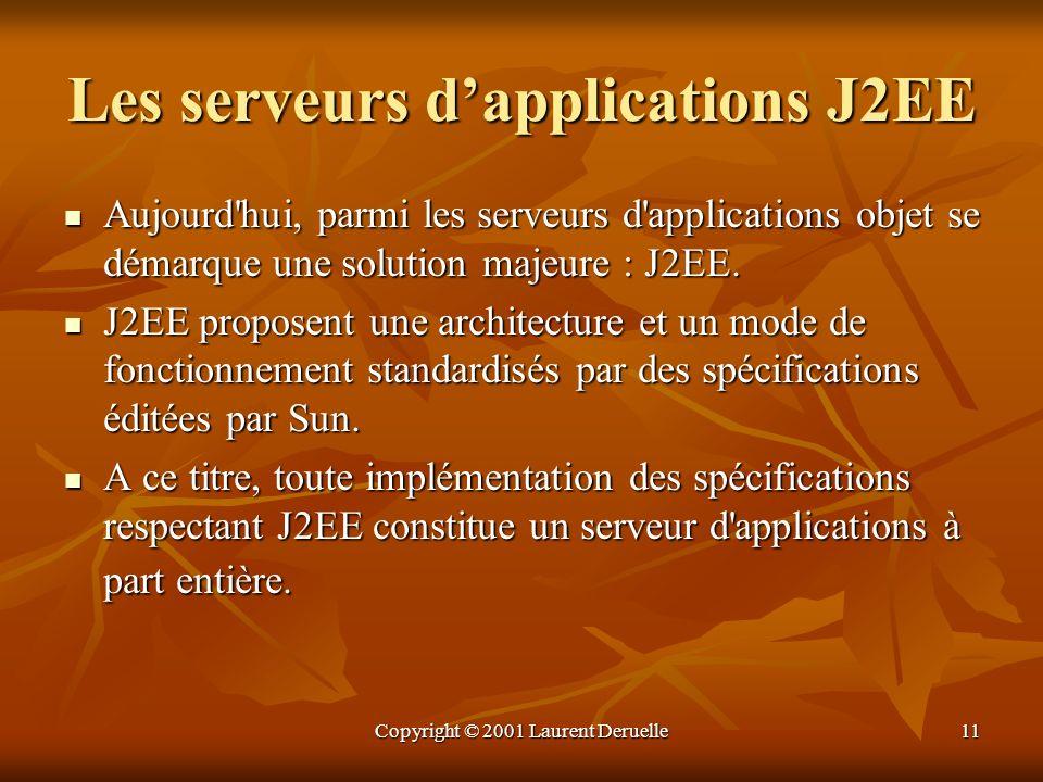Copyright © 2001 Laurent Deruelle11 Les serveurs dapplications J2EE Aujourd'hui, parmi les serveurs d'applications objet se démarque une solution maje