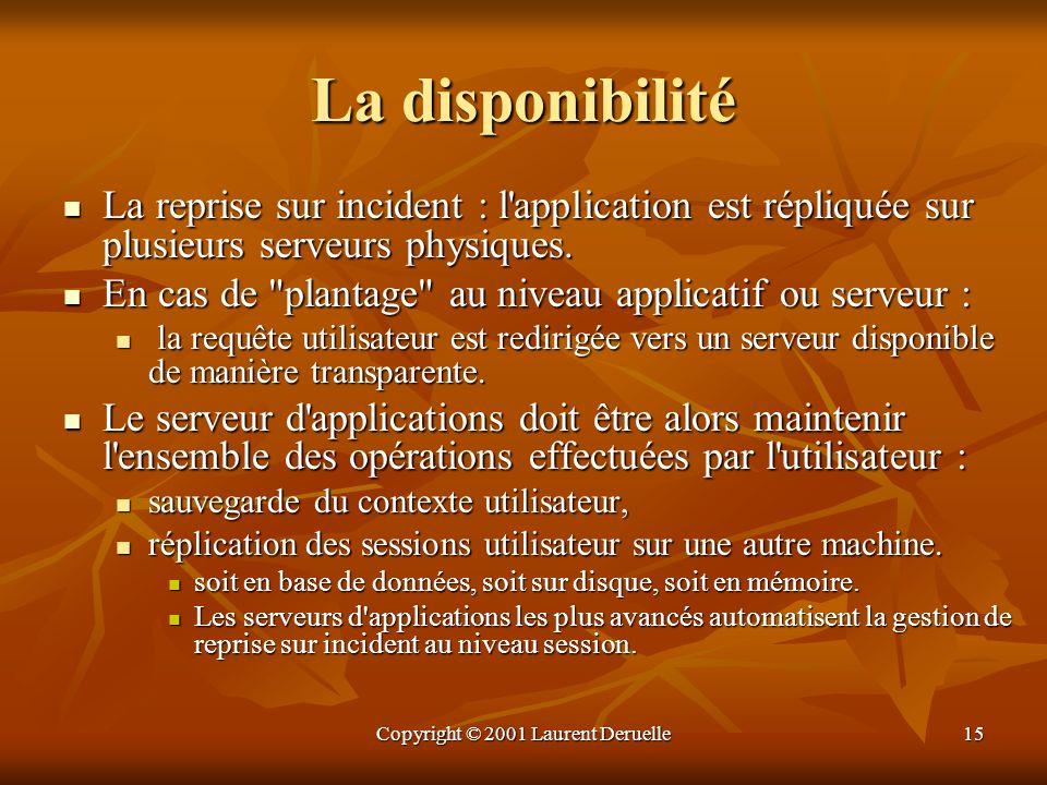 Copyright © 2001 Laurent Deruelle15 La disponibilité La reprise sur incident : l'application est répliquée sur plusieurs serveurs physiques. La repris