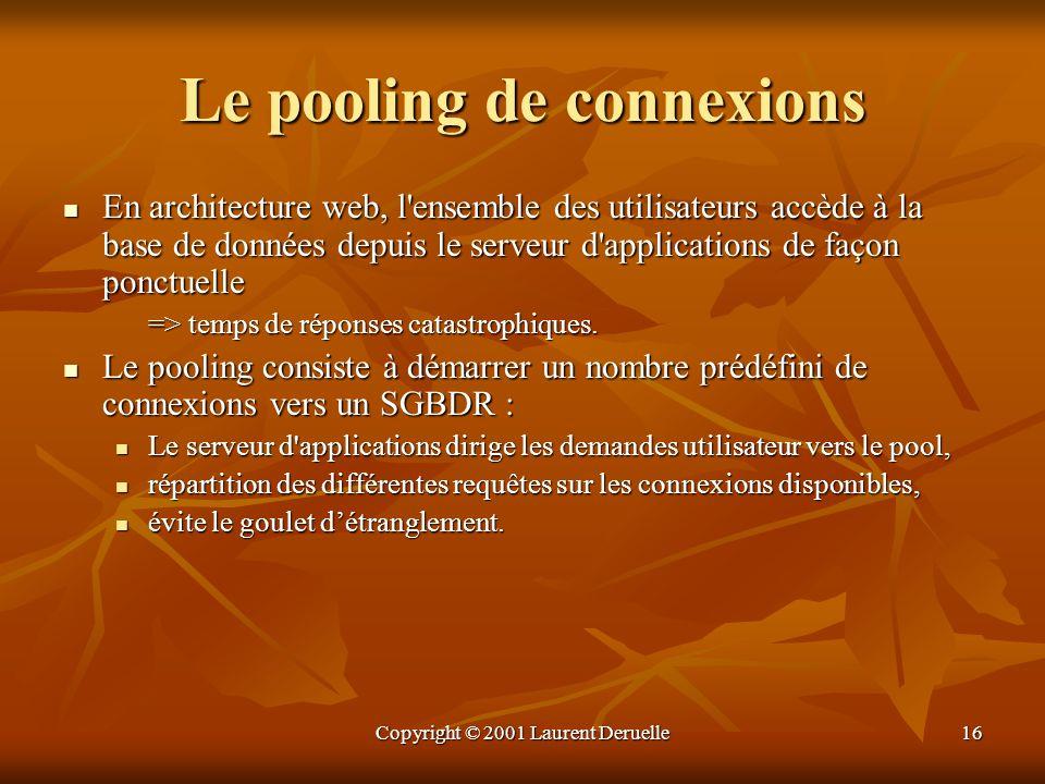 Copyright © 2001 Laurent Deruelle16 Le pooling de connexions En architecture web, l'ensemble des utilisateurs accède à la base de données depuis le se