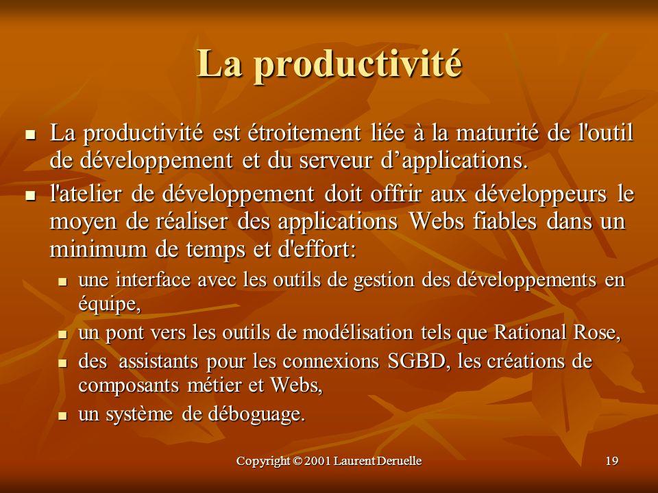 Copyright © 2001 Laurent Deruelle19 La productivité La productivité est étroitement liée à la maturité de l'outil de développement et du serveur dappl
