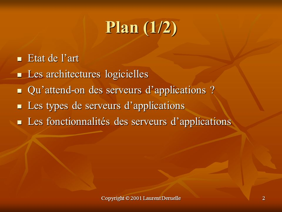 Copyright © 2001 Laurent Deruelle2 Plan (1/2) Etat de lart Etat de lart Les architectures logicielles Les architectures logicielles Quattend-on des se