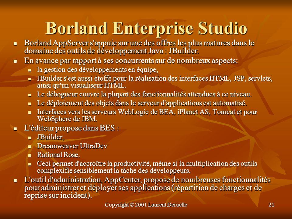 Copyright © 2001 Laurent Deruelle21 Borland Enterprise Studio Borland AppServer s'appuie sur une des offres les plus matures dans le domaine des outil