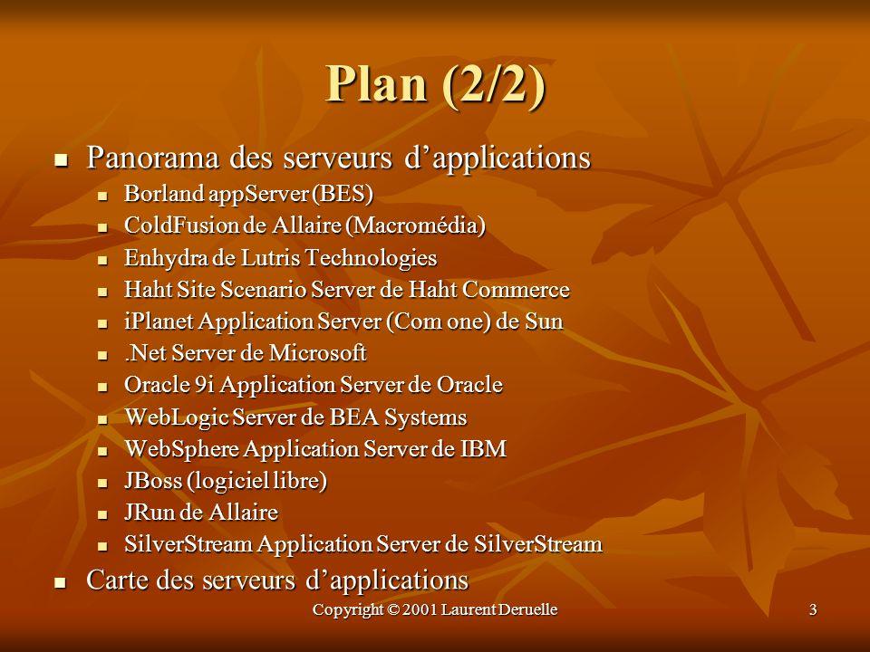 Copyright © 2001 Laurent Deruelle4 Etat de lart (1/2) Les limitations des modèles clients-serveurs, et des modèles à objets distribués ont favorisé les architectures multi niveaux.
