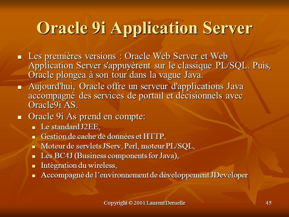 Copyright © 2001 Laurent Deruelle45 Oracle 9i Application Server Les premières versions : Oracle Web Server et Web Application Server s'appuyèrent sur