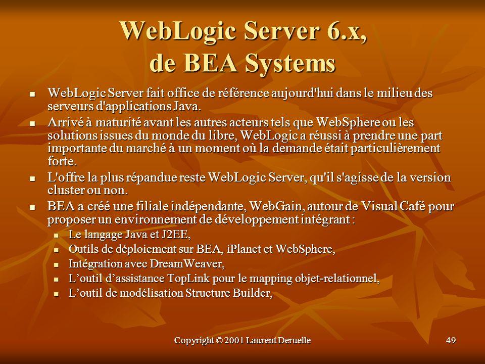 Copyright © 2001 Laurent Deruelle49 WebLogic Server 6.x, de BEA Systems WebLogic Server fait office de référence aujourd'hui dans le milieu des serveu