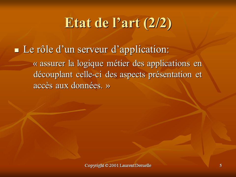 Copyright © 2001 Laurent Deruelle5 Etat de lart (2/2) Le rôle dun serveur dapplication: Le rôle dun serveur dapplication: « assurer la logique métier