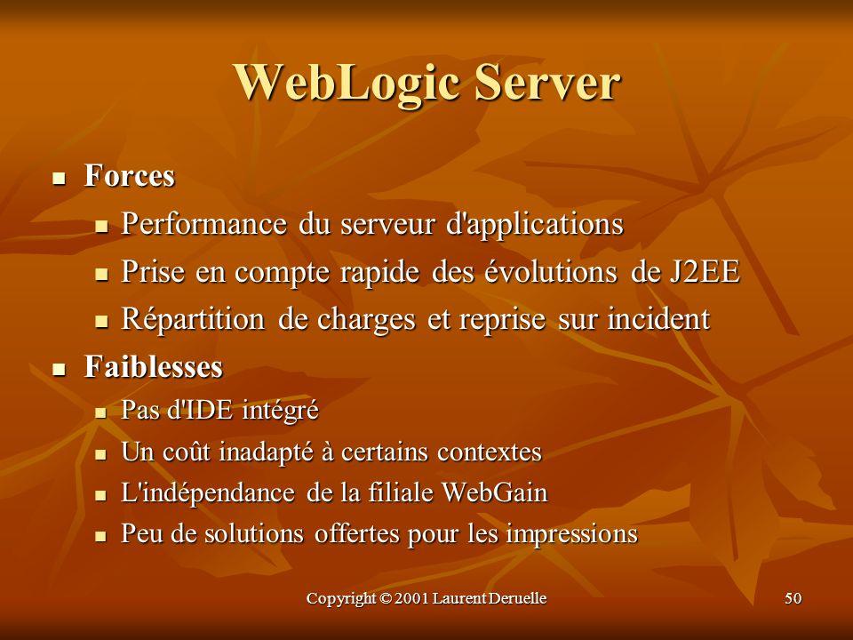 Copyright © 2001 Laurent Deruelle50 WebLogic Server Forces Forces Performance du serveur d'applications Performance du serveur d'applications Prise en