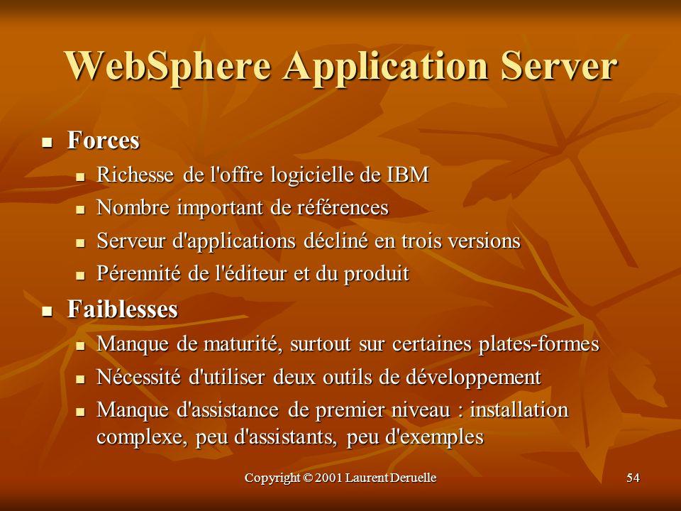 Copyright © 2001 Laurent Deruelle54 WebSphere Application Server Forces Forces Richesse de l'offre logicielle de IBM Richesse de l'offre logicielle de
