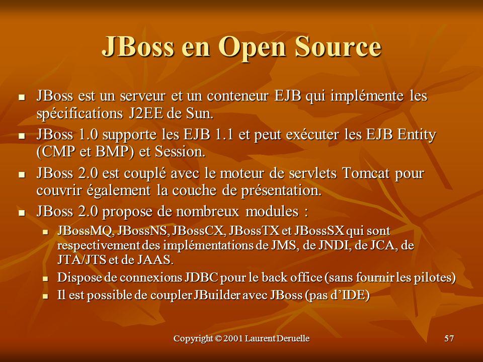Copyright © 2001 Laurent Deruelle57 JBoss en Open Source JBoss est un serveur et un conteneur EJB qui implémente les spécifications J2EE de Sun. JBoss