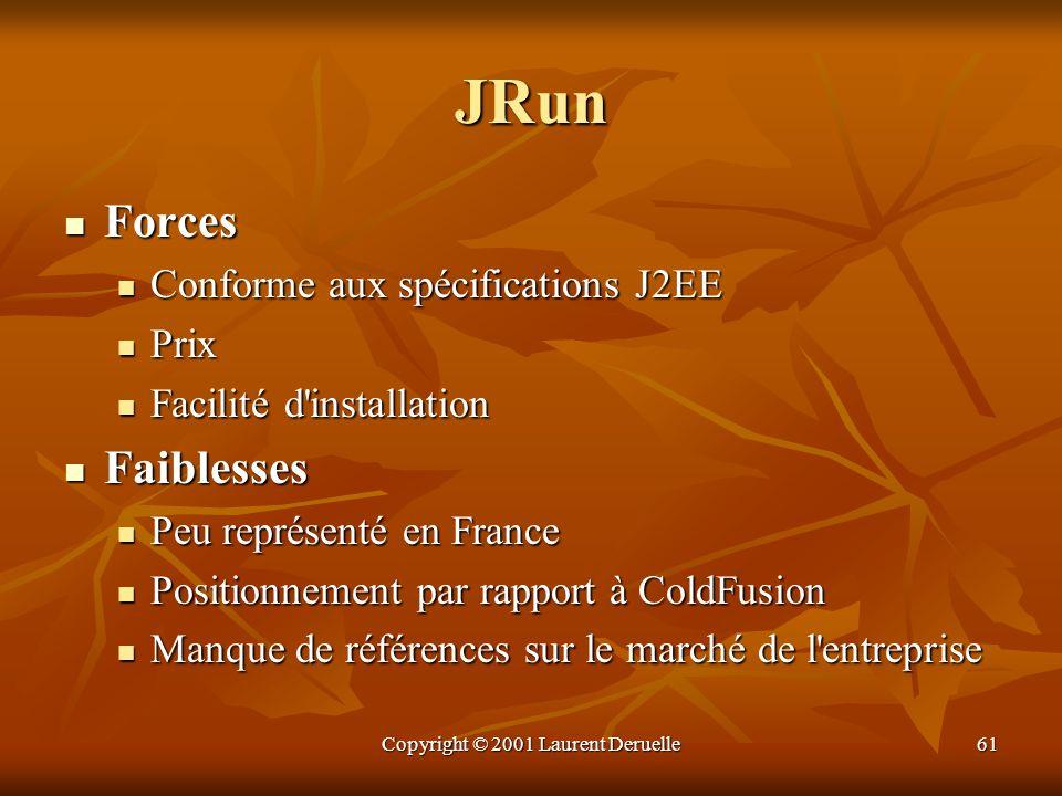 Copyright © 2001 Laurent Deruelle61 JRun Forces Forces Conforme aux spécifications J2EE Conforme aux spécifications J2EE Prix Prix Facilité d'installa