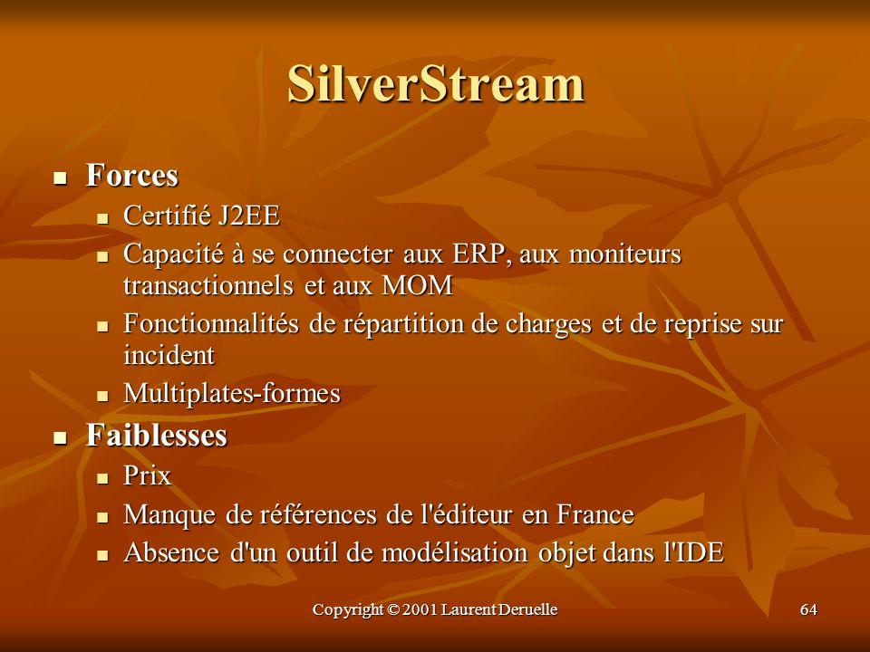 Copyright © 2001 Laurent Deruelle64 SilverStream Forces Forces Certifié J2EE Certifié J2EE Capacité à se connecter aux ERP, aux moniteurs transactionn