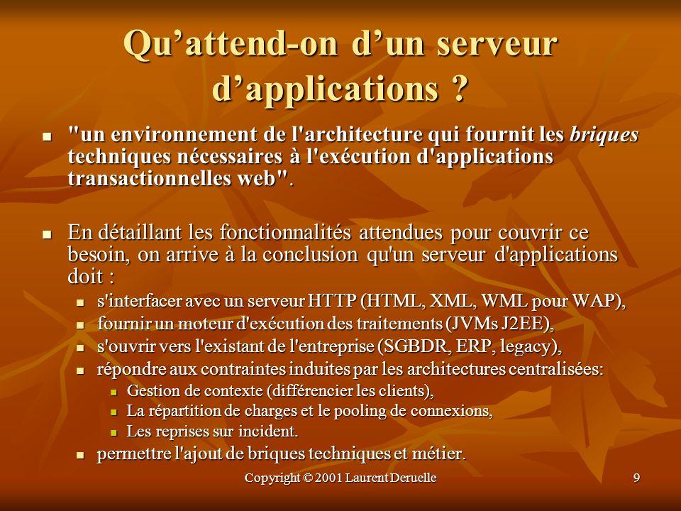 Copyright © 2001 Laurent Deruelle60 JRun dAllaire JRun 3.0 est un serveur d applications respectant les spécifications J2EE, qui ne fait pas partie des leader.