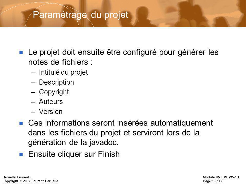 Module UV IBM WSAD Page 13 / 72 Deruelle Laurent Copyright © 2002 Laurent Deruelle Paramétrage du projet n Le projet doit ensuite être configuré pour