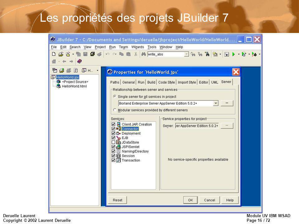 Module UV IBM WSAD Page 16 / 72 Deruelle Laurent Copyright © 2002 Laurent Deruelle Les propriétés des projets JBuilder 7