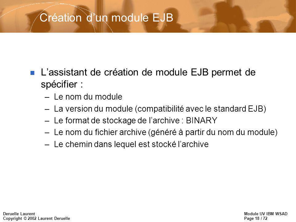 Module UV IBM WSAD Page 18 / 72 Deruelle Laurent Copyright © 2002 Laurent Deruelle Création dun module EJB n Lassistant de création de module EJB perm