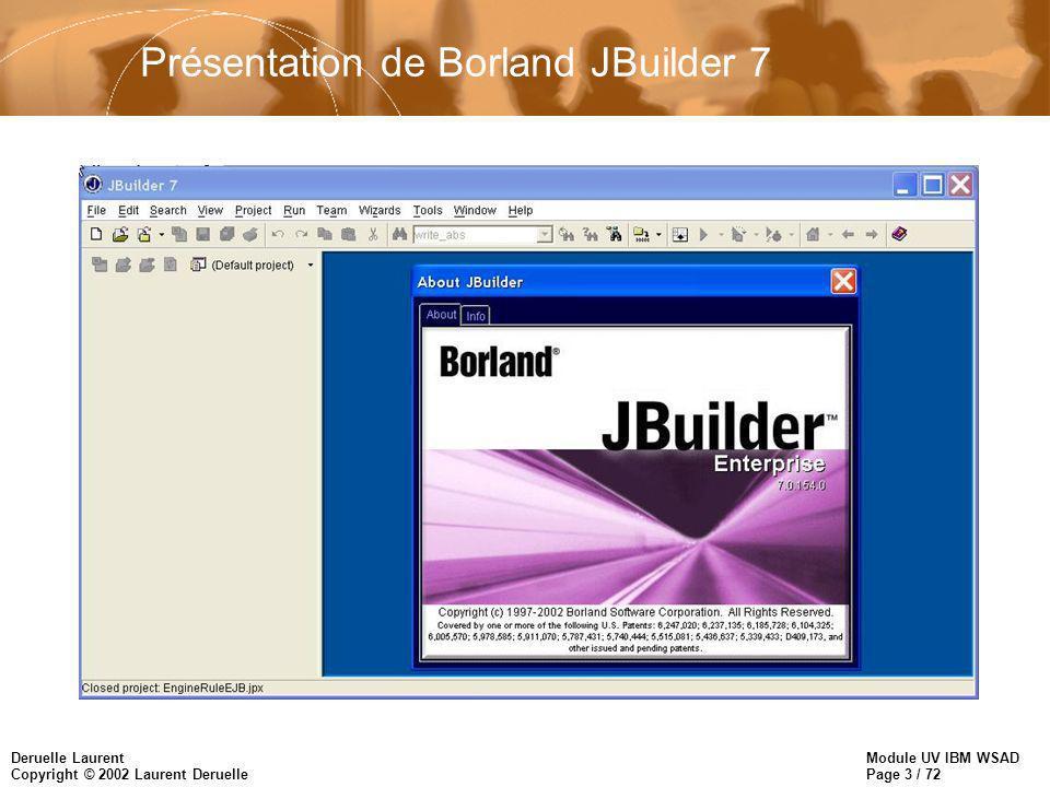 Module UV IBM WSAD Page 3 / 72 Deruelle Laurent Copyright © 2002 Laurent Deruelle Présentation de Borland JBuilder 7