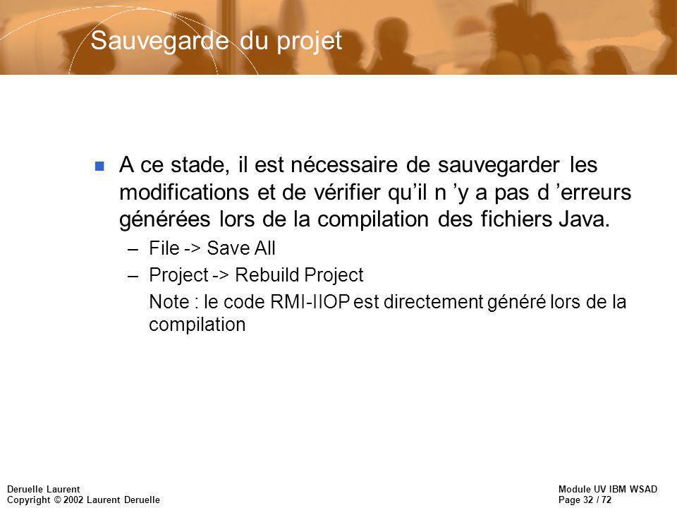 Module UV IBM WSAD Page 32 / 72 Deruelle Laurent Copyright © 2002 Laurent Deruelle Sauvegarde du projet n A ce stade, il est nécessaire de sauvegarder