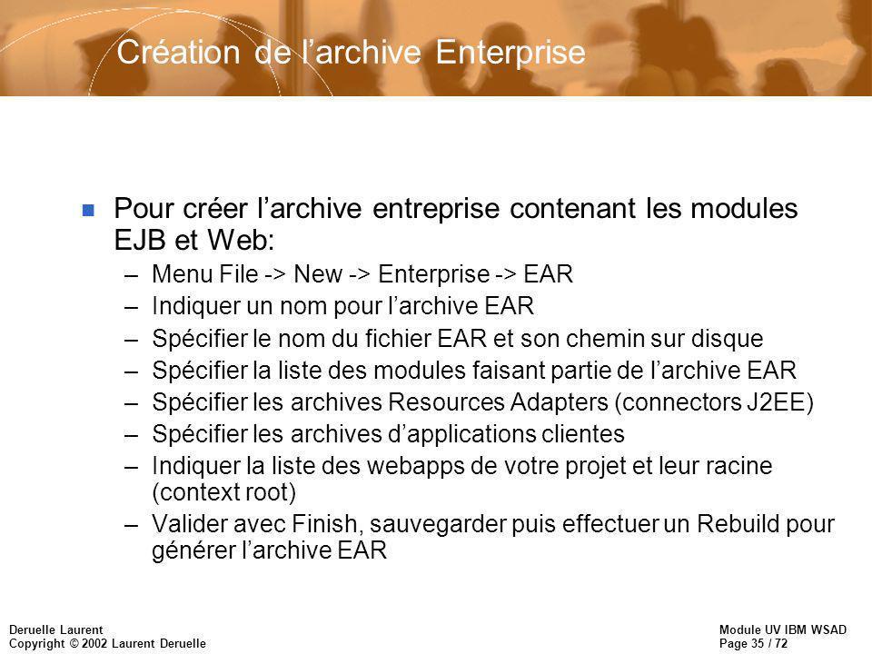 Module UV IBM WSAD Page 35 / 72 Deruelle Laurent Copyright © 2002 Laurent Deruelle Création de larchive Enterprise n Pour créer larchive entreprise co