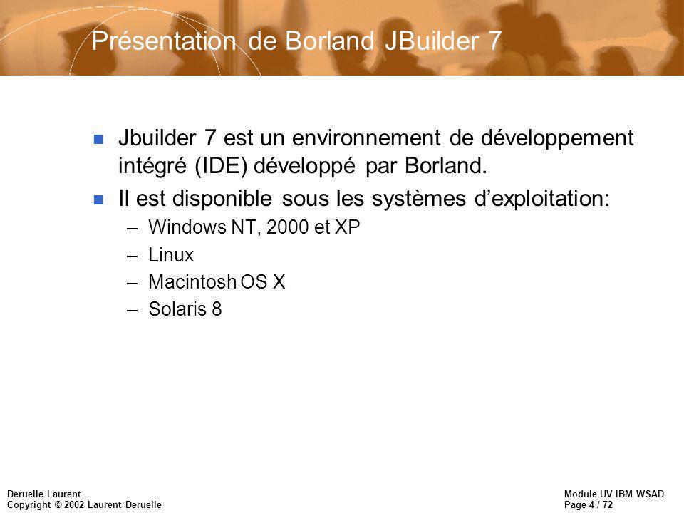 Module UV IBM WSAD Page 4 / 72 Deruelle Laurent Copyright © 2002 Laurent Deruelle Présentation de Borland JBuilder 7 n Jbuilder 7 est un environnement