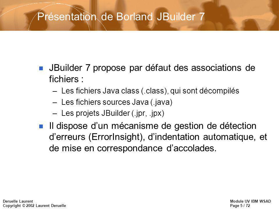 Module UV IBM WSAD Page 5 / 72 Deruelle Laurent Copyright © 2002 Laurent Deruelle Présentation de Borland JBuilder 7 n JBuilder 7 propose par défaut d